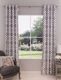 Grey And White Curtain Panels Amazon Com Gray And White Trellis Patterned Single Window Curtain