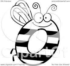 cartoon clipart of a black and white letter o bug vector