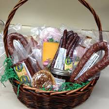 sausage gift baskets gift baskets filled with fresh smoked meats vincek s smokehouse