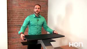 Hon Adjustable Height Desk by Directional Desktop Sit To Stand Installation Tips Youtube