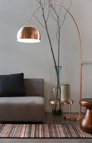 Livingroom Lamps Living Room With Grey Walls And Sofa Also Copper Arc Floor Lamp