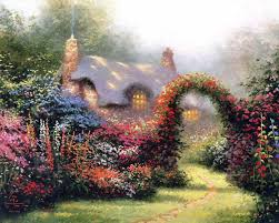 country cottage wallpaper desktop wallpaper kinkade floral arch in a