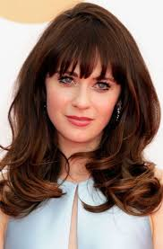 for thick hair layered brunette wavy hair with bangs