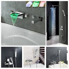 bathtub shower faucet set waterfall spout wall mount with handheld