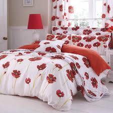 catherine lansfield poppies white poppy red floral duvet quilt