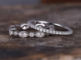 silver wedding band 2pcs eternity wedding ring set 925 sterling silver wedding