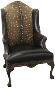 Wingback Chairs Leather Furniture Awesome Wingback Chair In Brown With Lack Wooden Legs