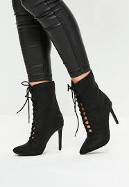 s lace up ankle boots australia pointed lace up heeled ankle boots missguided australia