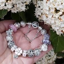 flower charm bracelet images Pandora spring bracelet pink flower murano bead charm bangle jpg