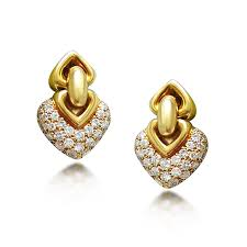 png gold earrings a pair of doppio cuore yellow gold pendant heart earrings by