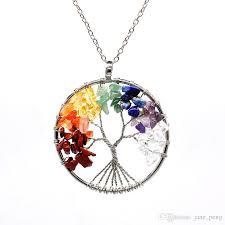 stone pendant necklace wholesale images Wholesale rainbow 7 chakra tree of life crystal stone pendant jpg