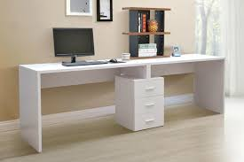 simple minimalist white gaming computer desk setup with large