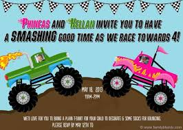 design create monster truck birthday invitations party with