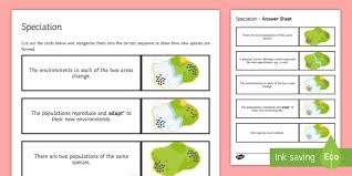 speciation sequencing cards sequencing cards gcse biology