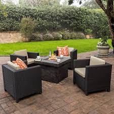 Propane Fire Pit Patio Sets Amazon Com Venice Patio Furniture 5 Piece Outdoor Wicker Patio