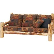 cedar log frame sofa cabin place