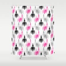 Pink Black And White Shower Curtain Items Similar To Shower Curtain Pink Black Grey White Teen