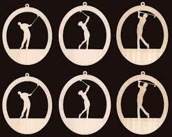 6 golf theme ornaments wood cutouts 964 4nd