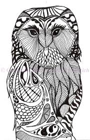 black and white art pen and ink bird signed 5 x 7 owl print home