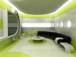 Green Silver And White Space Ship Interior Living Room OUTTA - Simple interior design for living room