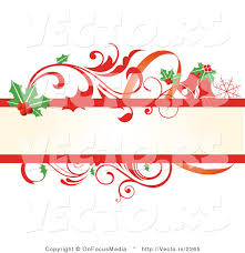 vector of holly leaves and red scrolling vines christmas themed