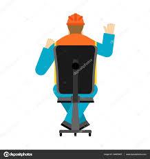 Helmet Chair Machine Operator Sits On Chair Worker In Helmet Earning Worksho
