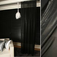 Black Curtains Bedroom Shiny Black Sheer Glitter Chiffon Curtain Plain Voile