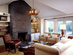 Contemporary Drapes Window Treatments Staining Brick Family Room Farmhouse With Window Treatments