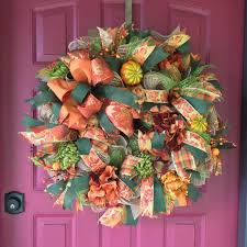 How To Make Halloween Mesh Wreaths by Fall Wreath Deco Mesh Wreath For Fall Thanksgiving Wreath Bay