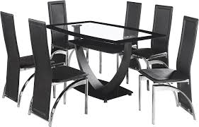 Glass Dining Table And 6 Chairs Sale Seconique Henley Dining Set With 6 Henley Black Chairs Clear