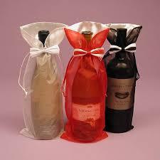 wine bottle bows bow tie organza wine bag