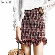 tweed skirt kohuijoo 2018 winter women student skirt slim tassel