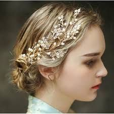 hair ornaments aliexpress buy pearl bridal hair comb gold leaves