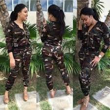 camouflage jumpsuit womens two jumpsuit sleeve hooded cotton