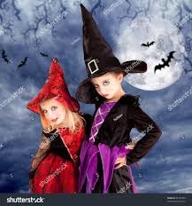 halloween costumes kid girls on moon stock photo 86185456