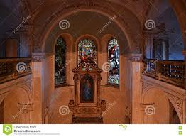 ornamental windows in a monastery in the stock photo image