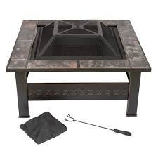 Fire Pit Pure Garden 32 In Steel Square Tile Fire Pit With Cover M150074