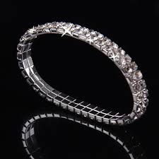 bracelet elastic silver images Crystal rhinestone stretch bracelet bangle wedding bridal jpg