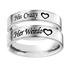men promise rings unique his weirdo stainless steel for women men