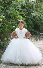 cute white cheap short sleeve tulle flower dresses custom