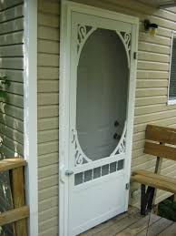 exterior white decorative vinyl screen porch door country style