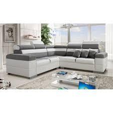 canape gris d angle canapé d angle colorado gris et blanc avec têtières inclinables