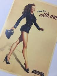 pin up girl home decor come fly with me midway girl pin up girls vintage retro canvas