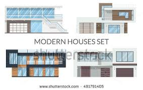 modern houses set real estate signs stock vector 491791405