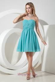 turquoise a line knee length chiffon dama bridesmaid dresses