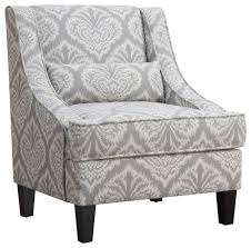 Grey And White Accent Chair Accent Seating Jacquard Patterned Accent Chair Mediterranean
