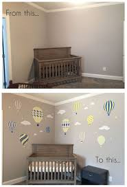 143 best finished nursery room projects images on pinterest enchanted interiors premium self adhesive fabric nursery wall art deluxe hot air balloons and clouds in