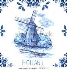 ornaments mill illustration delft blue stock illustration