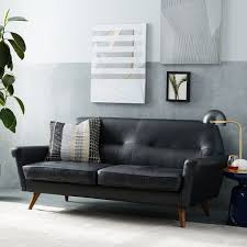 Loveseat Small Spaces Denmark Faceted Loveseat Leather French Navy Leather Loveseat