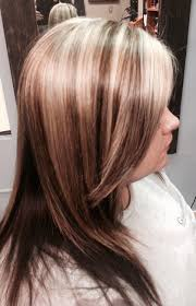 thick bleach highlights and low lighted hair with long layered